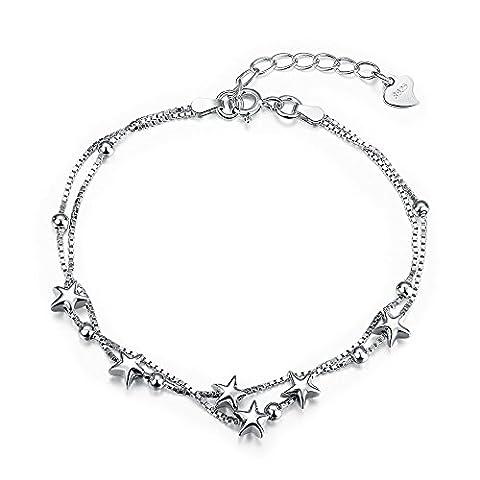 fjyouria Mini Sterne Perlen Charm Armband Sterling Silber Box Kette Damen Armband Dainty Layered Schmuck BFF Geschenk