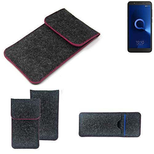 K-S-Trade® Filz Schutz Hülle Für Alcatel 1C Single SIM Schutzhülle Filztasche Pouch Tasche Case Sleeve Handyhülle Filzhülle Dunkelgrau Rosa Rand