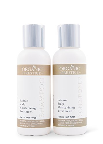 Luxury Shampoo and Conditioner SET (4 oz) Natural, Organic Dandruff, Moisturizing, Volume, Psoriasis, Hair Loss, Detangler, Split Ends, Itchy Scalp, Sulfate Free, Paraben Free by Organic Prestige