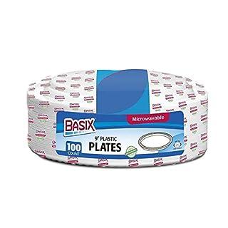 100 Stück Basix starke Qualität Einweg Kunststoff Plastik Teller/Schüsseln mikrowellengeeignet, weiß, 9 Inch - 22cm.