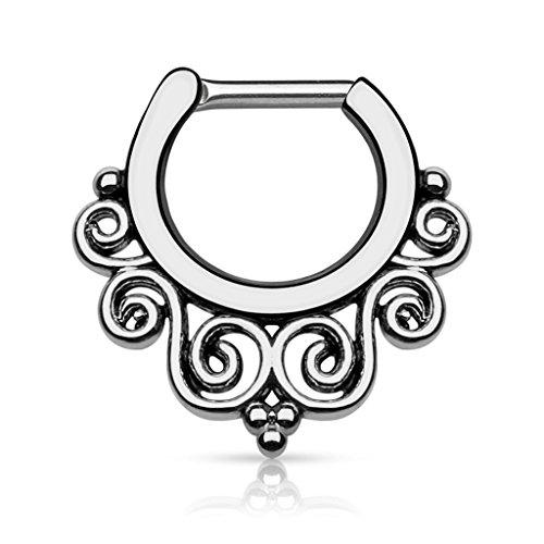 Piercingfaktor Universal Piercing Septum auch für Tragus Helix Ohr Nase Lippe Brust Intim - Clicker Ring Wirbel Tribal Anthrazit 1,6mm