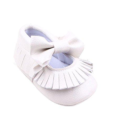 Longra Beiläufige Kleinkind Schuh Baby Mädchen Bowknotschuhe Weiß Pu Krippe Leder ppr6q