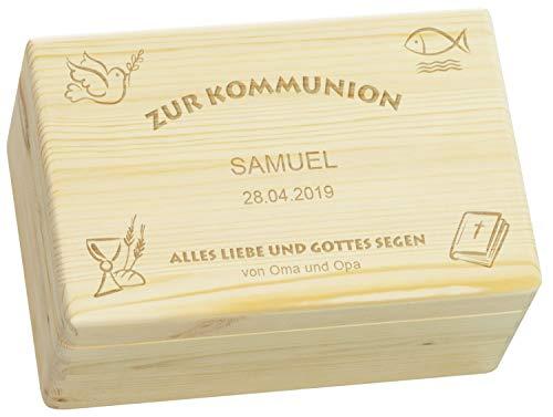LAUBLUST Holzkiste zur Kommunion - Kirchen Symbole - Geschenkkiste Personalisiert mit Gravur - 30x20x14cm, Natur, FSC®