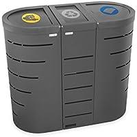 Isla de reciclaje de 3 papeleras unidas Niza (envases, resto y papel) 95+75+95 litros - 91x42,5x80cm - CERVIC OUTLET