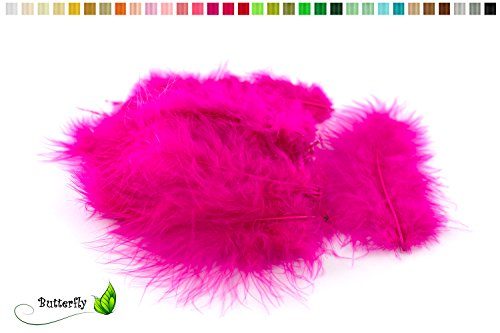 Magenta 8 Größe Kostüm - 20 Flaumfedern 8-12cm (fuchsia/magenta 183D)//Marabufedern Bastelfedern Hühnerfedern Dekofedern Schmuckfedern Federn