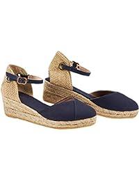 Donna Sandali con Zeppa Estive Scarpe con Tacco Casual Eleganti Estivi  Sandals Romani Testa Tonda 70cf2312361