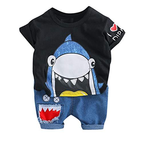 LSAltd Kleinkind Baby Kinder Jungen Sommer Niedlichen Cartoon Shark Kurzarm Tops T-Shirt + Shorts Hosen Casual Outfits Set