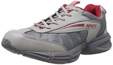 Sparx Men's Grey and Red Mesh Running Shoes - 9 UK (SM-172)