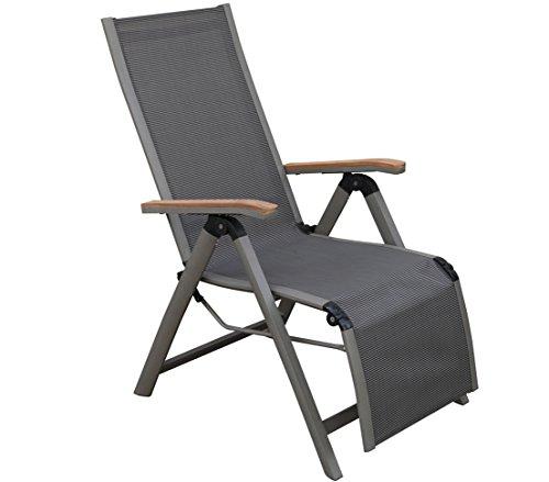 Dehner Relaxsessel Colmar, klappbar, ca.  110 x 59 x 73 cm, Textilen/Aluminium/FSC Teakholz, anthrazit