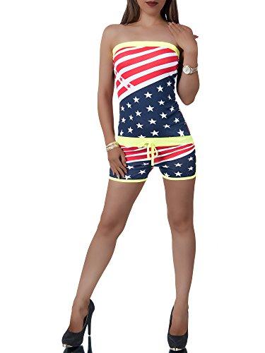 Diva-Jeans L168 Damen Jumpsuit Hochbund Overall Einteiler Hosenanzug Bandeau Catsuit Capri, Farben:Gelb, Größen:Einheitsgröße Diva Jumpsuit