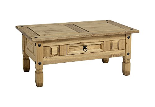 Mercer's Furniture Corona modèle Basse à 1 tiroir en pin ciré Effet Vieilli