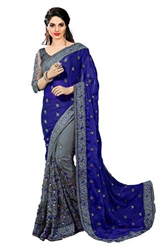 Panash Trends Women's Heavy Embroidery Work Satin Silk Saree (K608.P.R.O.G.B)