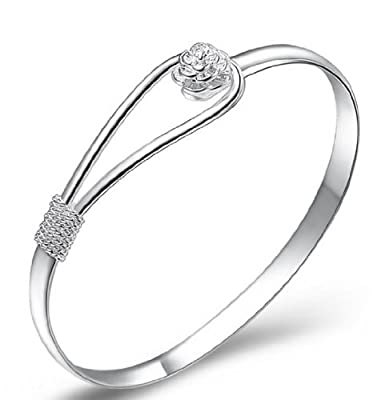 925 sterling silver elegant clip-on button style floral design bracelet / bangle jewellery classic design