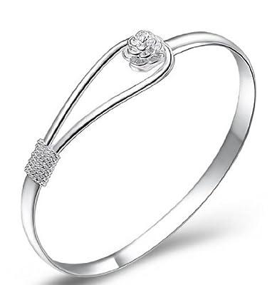 XXWG 925 sterling silver elegant clip-on button style floral design bracelet