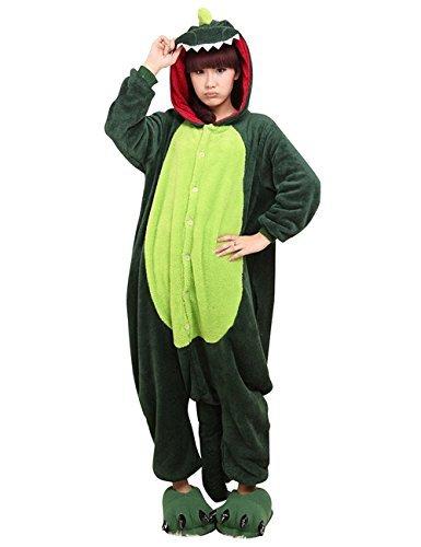 Winter warm Flanell Einteiler Schlafanzüge Erwachsene Unisex ein Teil blau Stich Pyjama - grüner Dinosaurier, Small