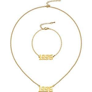 Geburtsjahr Nummer Halskette Armband, 1996 Nummer Anhänger Halskette Armband Geburtstag Geschenk für Frauen und Mädchen Einstellbare Gold Kette