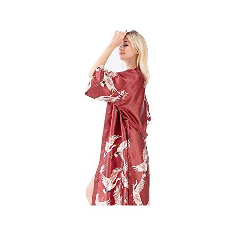 DILU Bata Kimono para Mujer, Bata Kimono Satinado, Pijama Chino japonés, Talla M