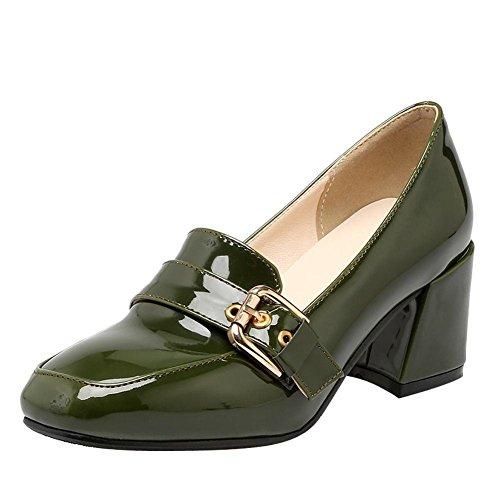 Uh Alla Blocco Caviglia Anello Verde Scarpe Donna Tacchi Moda Bordo Vernice Comodo Da Con E Scarpe Alla Fine rPqrfxO
