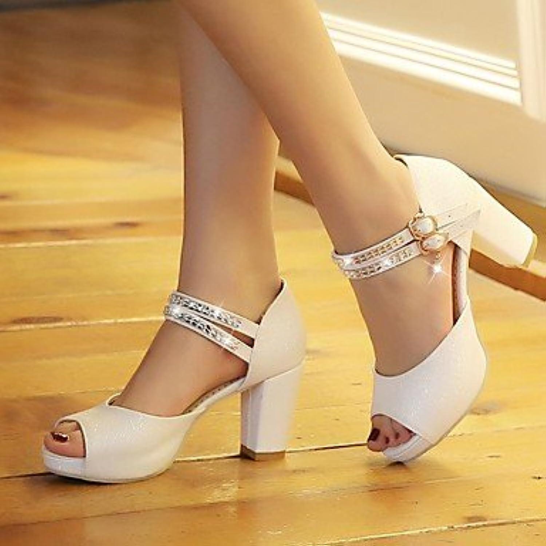 Las mujeres 039 s sandalias primavera PU Confort confort informal negro blanco FlatBeigeUS8 UE39 UK6 CN39
