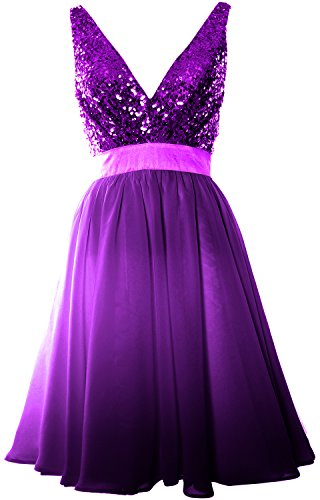 MACloth Women V Neck Sequin Cocktail Dress Vintage Short Formal Prom Party Gown purple