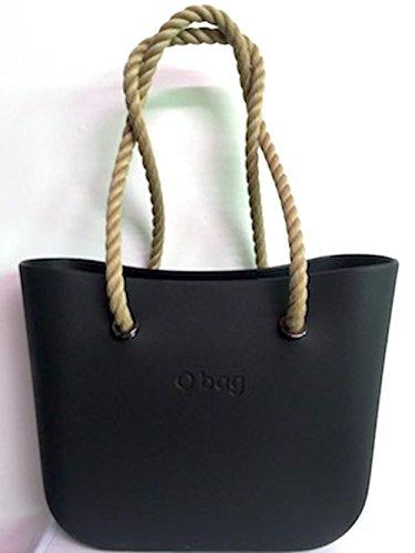 Borsa o bag nera+manici corda lunghi naturali+sacca