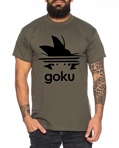 Adi Goku Herren T-Shirt Dragon Master Son Ball Vegeta Turtle Roshi Db, Farbe:Khaki;Größe:M