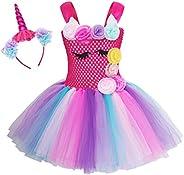 AmzBarley Unicornio Vestidos Princesa Niña Fiesta de Tul Tutu con Encaje de Flor sin Mangas,Disfraz Halloween