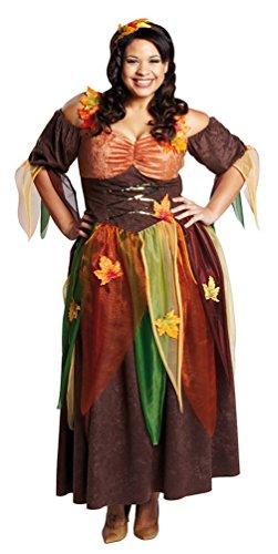 Fee Kostüm Plus Size (,Karneval Klamotten' Kostüm Waldfee Herbst Dame Kostüm Karneval Märchen Damenkostüm Größe)