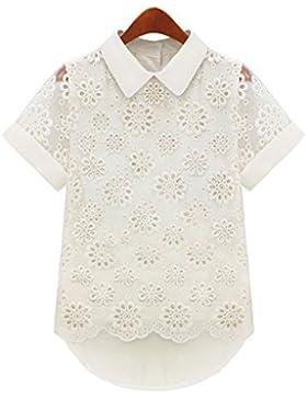 Hrph Fashion Lady Girl Lace Ahueca hacia fuera Chiffon manga corta camisa de las mujeres blusa Doll Collar Tops