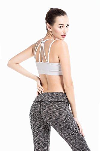 YIANNA Damen Abnehmbare Gepolsterte Sport BH Mittlerer Halt Ohne Bügel Yoga Bra Atmungsaktiv Bustier Weiß