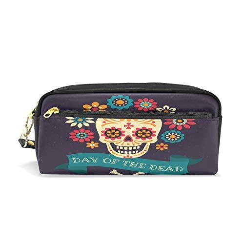 Bigjoke Bleistifttasche für Halloween, Blumen, Totenkopf, PU-Leder, Tasche für Make-up, Kosmetik, Reisen, Schultasche