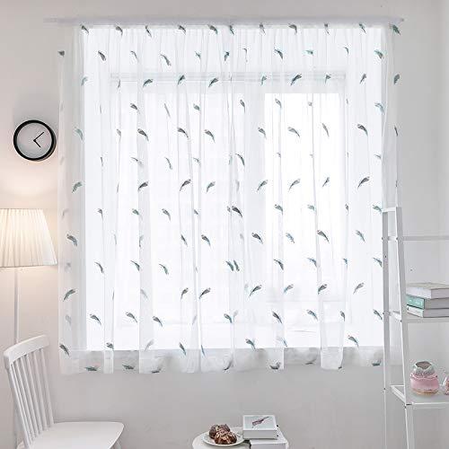 Sheer curtains voile white base yarn 3d feather ricamo per soggiorno camera da letto window treatment velcro window curtains,1pcs(150 * 200cm)