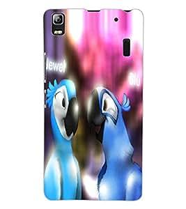 ColourCraft Loving Parrots Design Back Case Cover for LENOVO A7000 PLUS