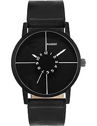 Passport Men's Unique Black Dial Analog Wrist Watch - Classic Black Casual Watch | Comfortable PU Leather Strap...