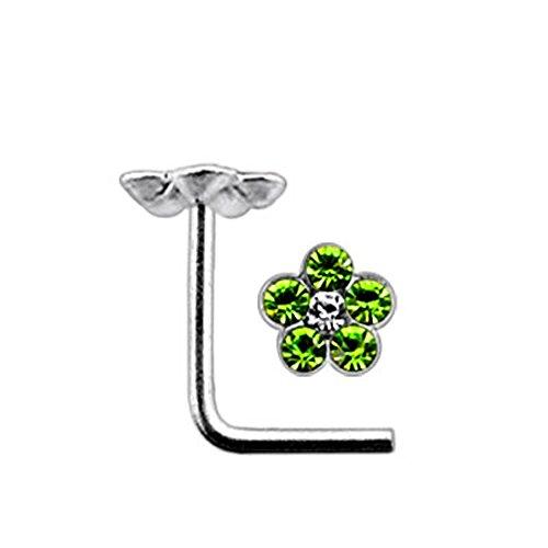 Leichte grüne Multi Kristall Blume 22 Gauge 925 Sterling Silber L Bend Nase Piercing
