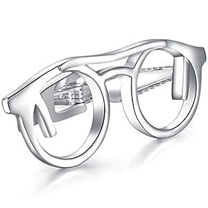 Honey Bear 4.8cm Herren Krawattennadel Krawattenklammer Silber Brille aus Edelstahl,MEHRWEG