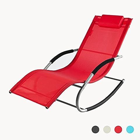 Chaise Longue A Bascule Jardin - SoBuy® OGS28-R Fauteuil à bascule Chaise longue