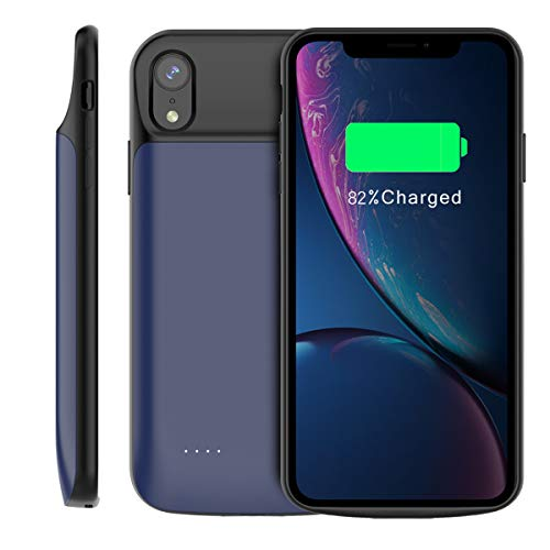 Lusenbo Battery Case for iPhone Xr Akku Hülle, 6000mAh Wiederaufladbar Erweitert Akku-Ladekoffer Tragbar Power Bank Schützend Abdeckung Aufladefall Verlängert Backup - Blue
