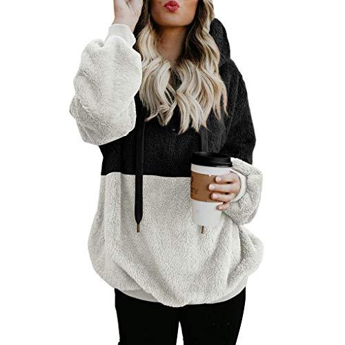 ORANDESIGNE Damen Casual Winter Kapuzenpullover Teddy-Fleece Langarm Oversize Sweatshirt Hoodie Einfarbig Warm A Schwarz DE 50 50 Sweatshirt Fleece Hoodie