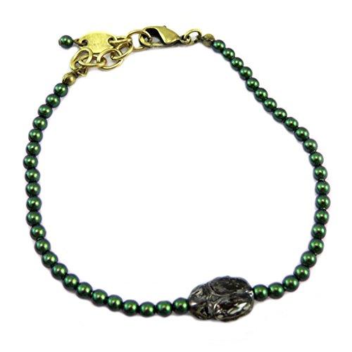 Lily-Crystal [P6677] - Handgemachtes armband 'Tsarine' grün grau (käfer)- 3 mm, 11x8 mm. - Lily, Die Elf-prinzessin