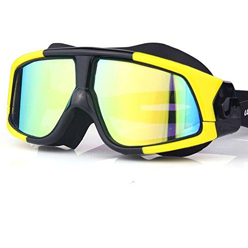 Die HD-Anti-Fog-wasserdichte Schwimmen-Glas-Männer der großen Feld-Schwimmen-Schutzbrillen-Männer tauchen kurzsichtige Schwimmen-Kappen-Ausrüstung, 4 Arten Farben, Unisex auf. ( Farbe : Black and yellow. )
