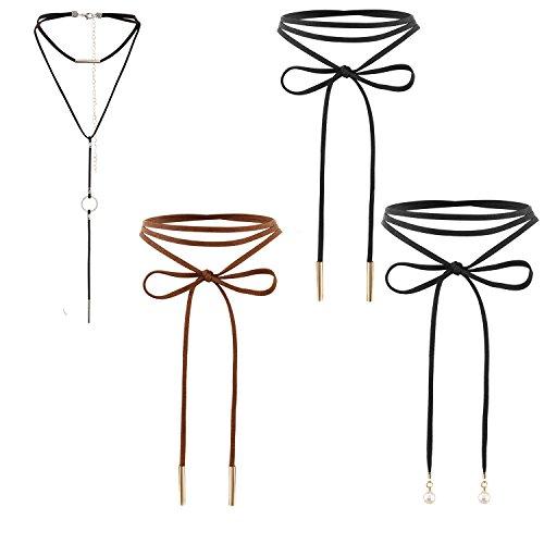 Cupimatch 4pcs Damen Choker Halskette Set, Leder Stretch samt schwarz einstellbar Lange Ketten...