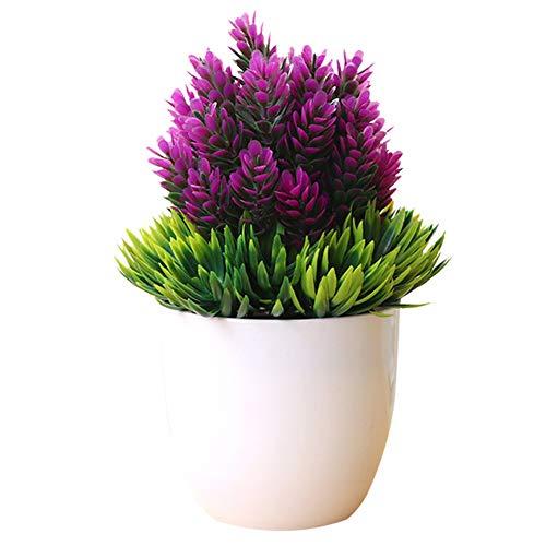 Oyfel Künstliche Blumen mit Topf Künstlich Pflanze Kunststoff Blumenstrauß im Topf Faux Blume und Pflanzen Zuhause Deko 14 * 19 cm (Blumen-topf Hübsche)