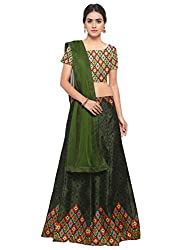 Styles Closet Silk Printed Lehenga Choli For women(Green)