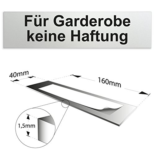 """Aluminium Türschild """"Für Garderobe keine Haftung"""" 160 x 40 x 1,5mm (Oberfläche veredelt) • Selbstklebend"""