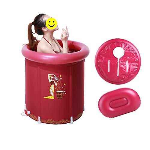 LILI Badkuip Badewanne olding tragbare Badewanne, verdickung aufblasbare kinderbadewanne Kunststoff runde große Raum Faltbare duschbadewanne (Color : Red, Size : 65 * 70cm) -