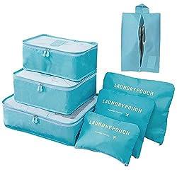 Meowoo Koffer Organizer Packing Cubes Packtaschen 7-teilig Kleidertaschen Verpackungswürfel Gepäck Aufbewahrung Taschen 3 Packwürfel + 3 Koffer Organizer +1 Schuhbeutel(Blau)