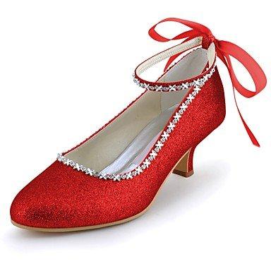 (Wuyulunbi@ Frauen Schuhe funkelnden Glitter Frühling Sommer Basic Pumpe Hochzeit Schuhe niedrigem Absatz Spitze Zehe Closed-toe Strass funkelnden Glitter Für, Rot, Us8.5/Eu39/Uk6.5/CN 40)