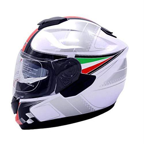 QMHG Casco da Motociclista Moto,utilizzato in ATV Go-Kart off-Road Racing Race Road, Testa Integrale a Prova di Caduta Parasole Collision Staccabile Unisex,M