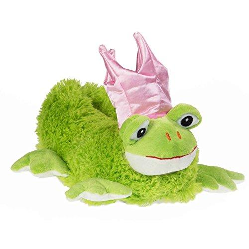 funslippers®, lustige Hausschuhe Tierhausschuhe Größe 45, 46, 47 Frosch Prinzessin mit Krone rosa Plüsch Hausschuhe mit Gummisohle